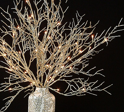Gold Coral Lighted Willow Branches