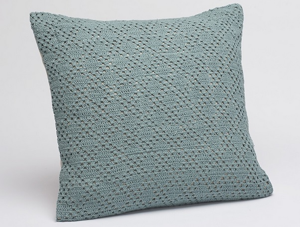 Organic Cotton Diamond Crochet Throw Pillows