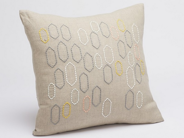 Linen Stitched Tile Throw Pillow