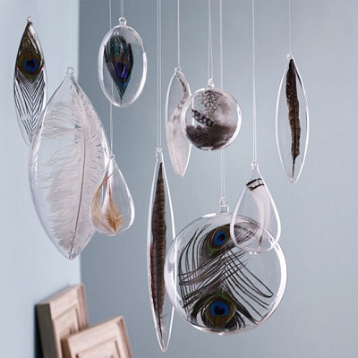 Floating Feather Blown Glass Ornaments