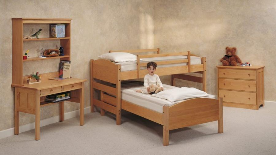 Sustainable Maple Kids Bunk Bed Trundle Hi Lo System