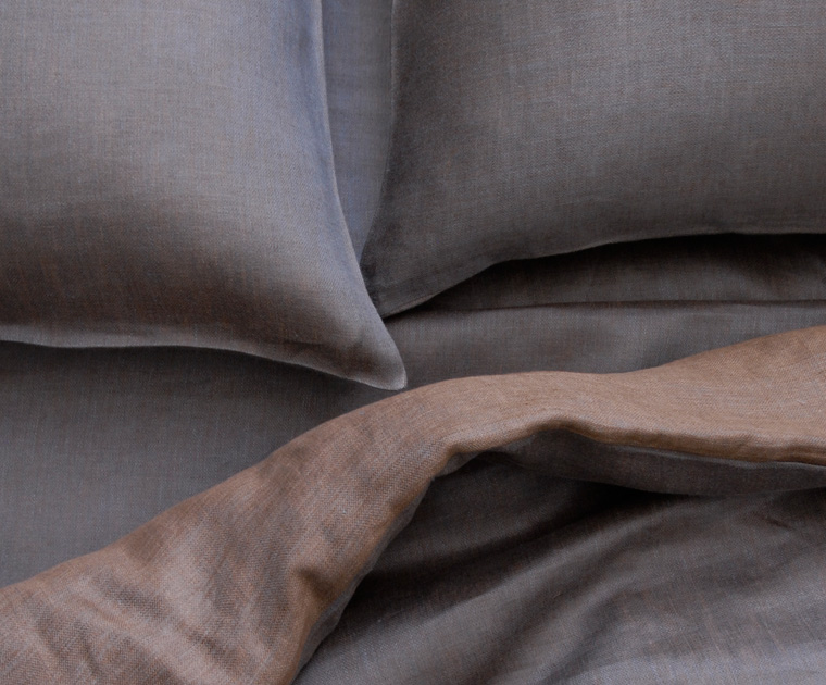 Nile Grey/Brown Linen Duvet & Shams