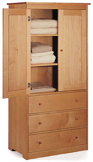 Solid Maple Wood Wardrobe Cabinet