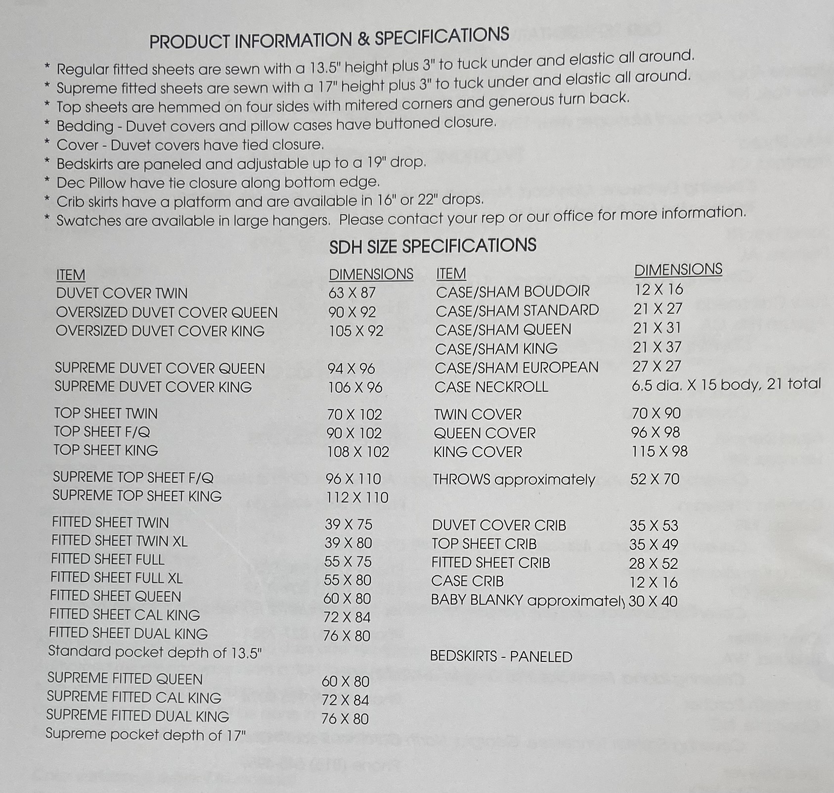 SDH Size Chart and Specs