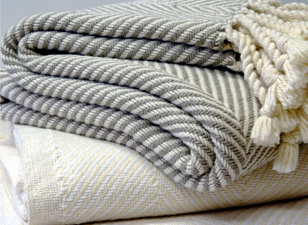 USA Cotton Herringbone Cotton Throw Blankets