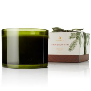 Frasier Fir 3-wick candle with Ceramic & Gold Rim Crock
