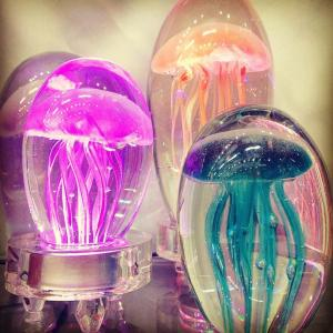 Glass Jelly Fish Paperweight & Desk Art