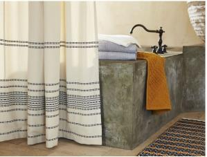 Ripple Stripe Cotton Shower Curtain
