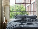 Flannel Duvet and Shams - Charcoal Heather under sunlight