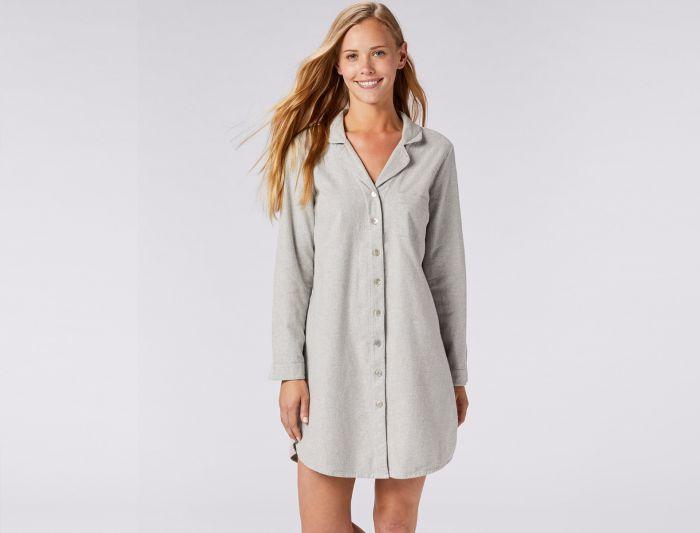 Clothing loungewear loungewear earthsake natural for Women s flannel sleep shirt